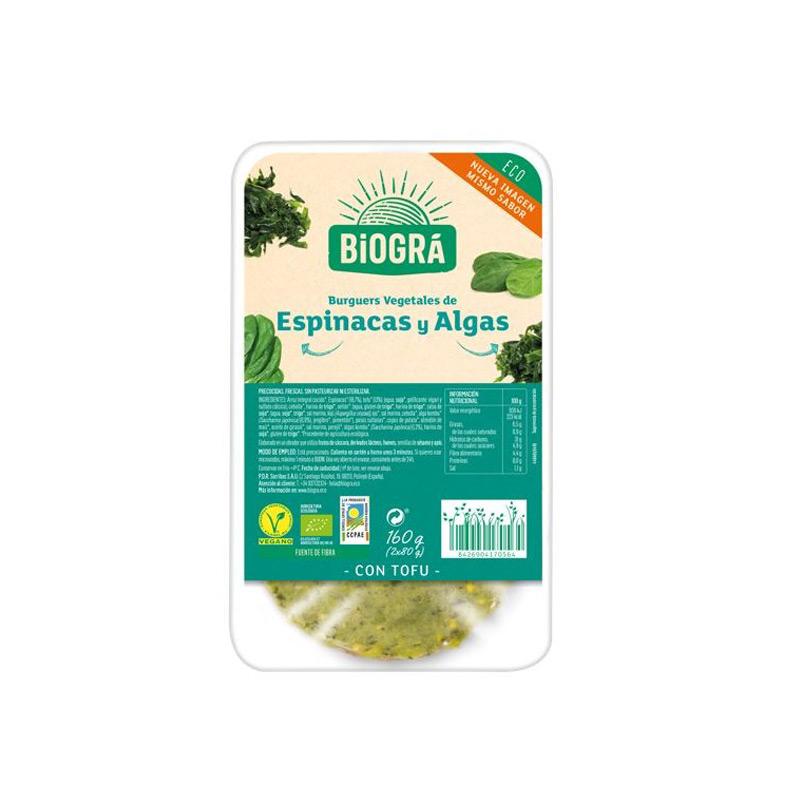 Hamburguesa algas y espinacas